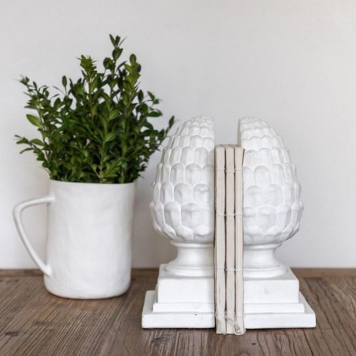 Ivory House Acorn Bookends, White