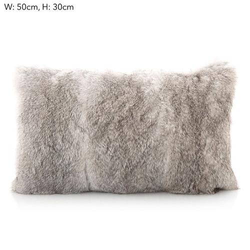 Rabbit Fur Cushion Grey