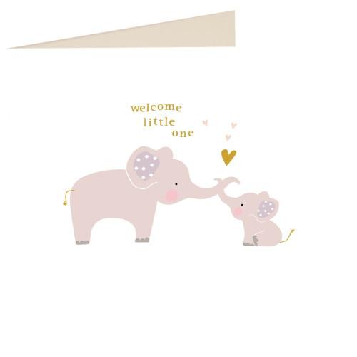 Caroline Gardner 'welcome little one' Elephant Baby Card