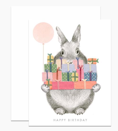 'Happy Birthday' Bunny with Gifts Dear Handcock Card