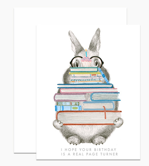 Happy Birthday 'hope your birthday is a real page turner' Bunny Card Dear Handcock