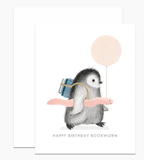 'Happy Birthday Bookworm' Penguin Dear Handcock Card