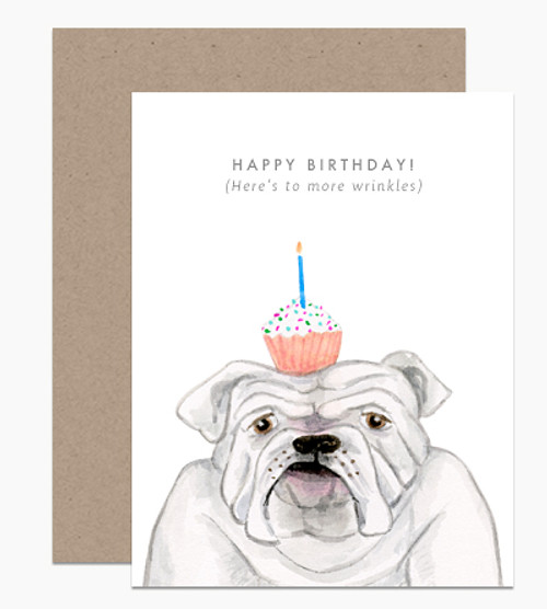 'Happy Birthday (Here's to More Wrinkles)' Dear Handcock Card Bull Dog