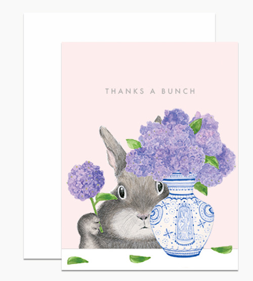 'Thanks a Bunch' Card Thank you Dear Handcock Card Bunny Arranging Lilacs