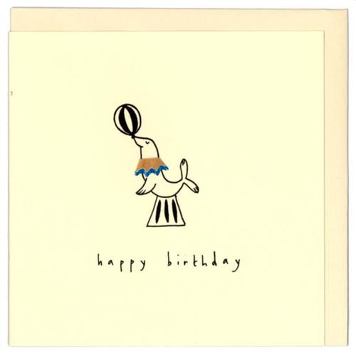 'Happy Birthday' Card Circus Seal Ruth Jackson Pencil Shaving Cards