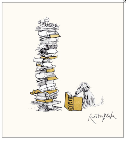 Dog with Books- Quentin Blake Illustration Card - Woodmansterne