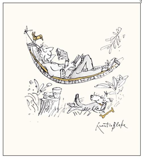Man in Hammock Reading- Quentin Blake Illustration Card - Woodmansterne