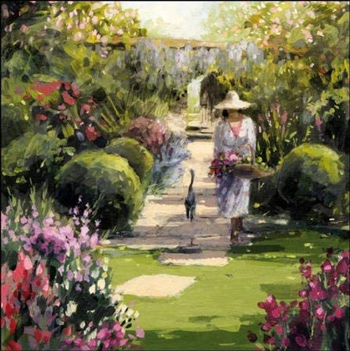 Garden of Dreams Lady  Gardening with Cat Card - Woodmansterne