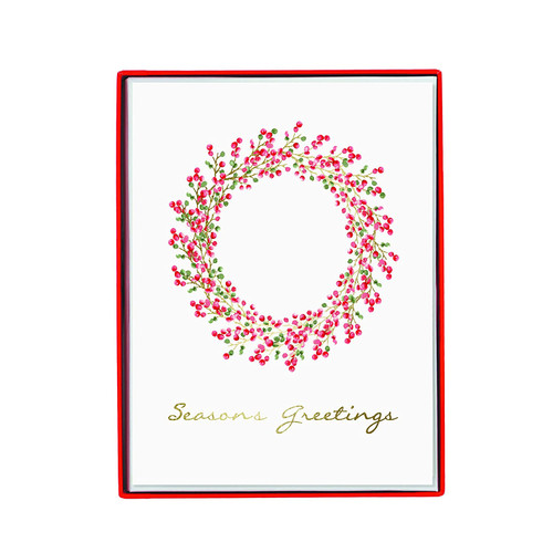 Boxed Cards- Red & Green Berry Wreath— 15 Cards Set 'Seasons Greetings' by Graphique de France.