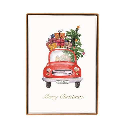Boxed Cards- Car with Christmas Tree— 15 Cards Set 'Seasons Greetings' by Graphique de France.