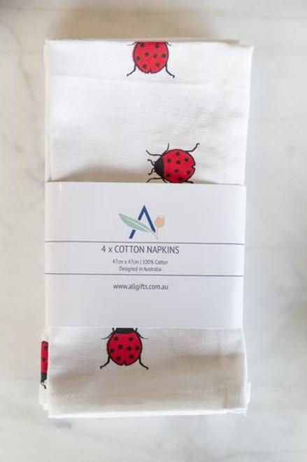 Set of 4 - Ladybird Ladybug Cotton Napkins