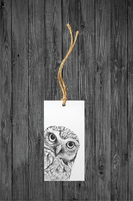 Cathy Hamilton Artworks- Owl Gift Tag Card