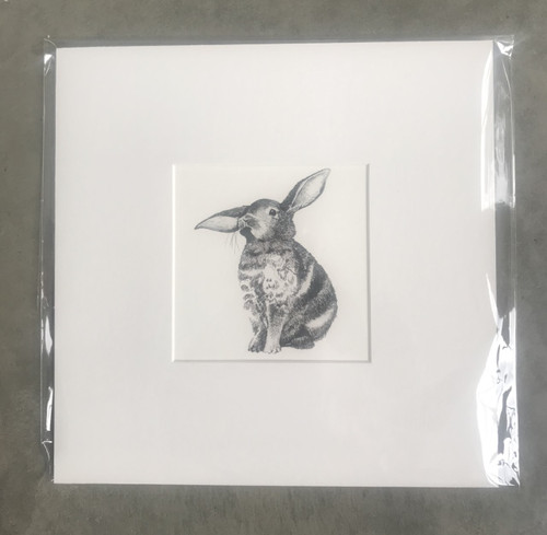 Father Rabbit Print - Bunny,  Mounted Ready for Frame