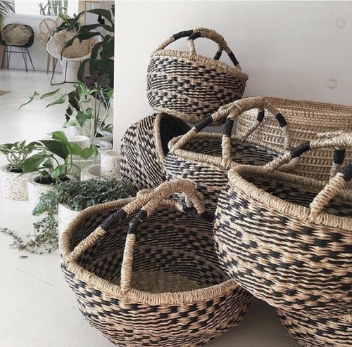 Black/Natural Checked Market Baskets - Small & Large