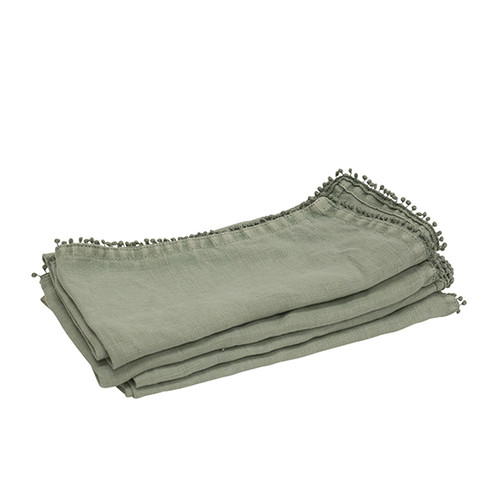 Linen Stonewash Sage Green Bauble Napkins- Set of 4