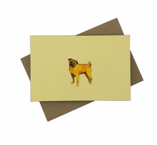 Penny Lindop Designs 'Pug Dog' Mini Greeting Card