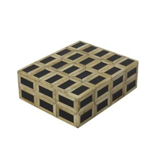 Black and Natural Square Decor Decorative Box With Bone and Horn Inlay