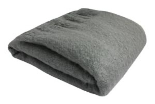 Soft Fringed Solid Grey Wool Blend Throw Blanket