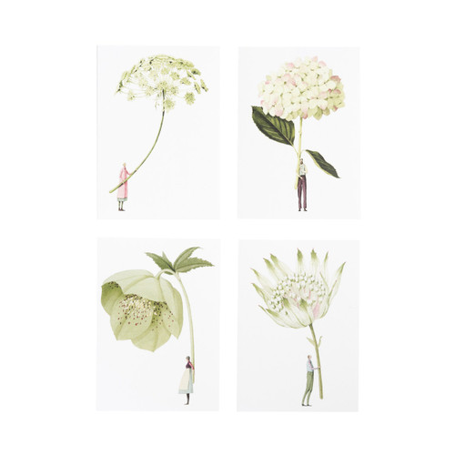 Laura Stoddart - IN BLOOM – NOTECARDS SET 3 'Greens'  – Pack of 8, 4 Designs