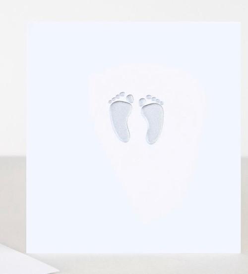 Caroline Gardner Silver Feet New Baby Card