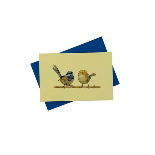 Penny Lindop Designs 'Wrens' Pair of Wren Birds Mini Greeting Card