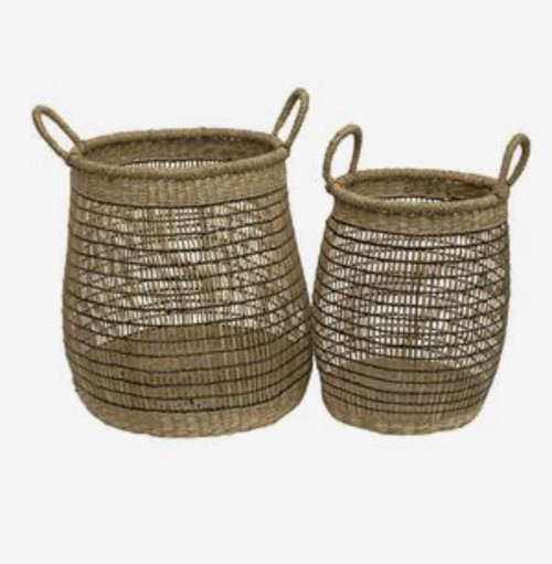 Natural & Black Open Weave Wide Baskets with Handles Set of 2