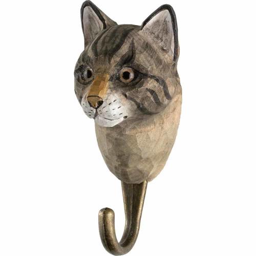 Hand Carved Hook by Wildlife Garden, Sweeden - Cat