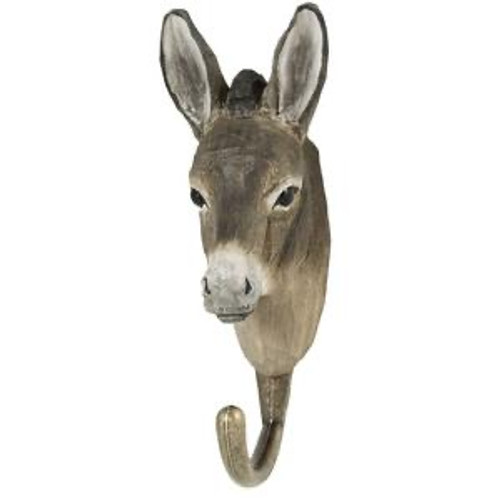 Hand Carved Hook by Wildlife Garden, Sweeden - Donkey