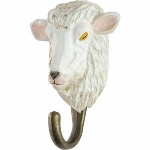 Hand Carved Hook by Wildlife Garden, Sweeden - Sheep