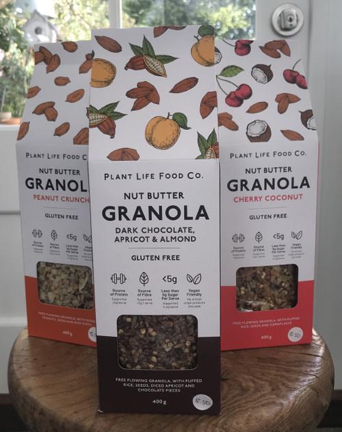 Plant Life Food Co Gluten Free Granola - 3 Pack: Cherry Coconut, Dark Choc Hazelnut, Peanut Crunch