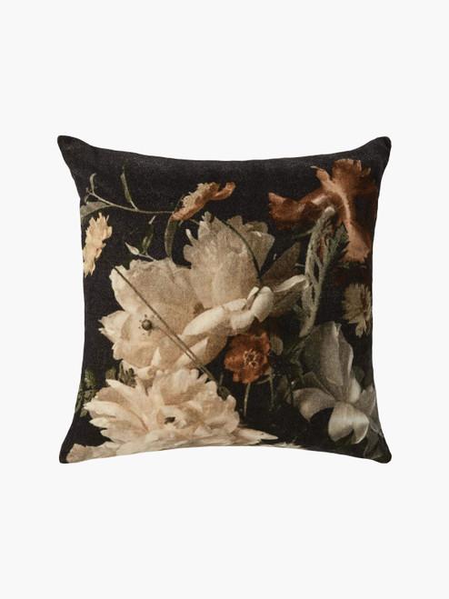 Nocturne Cushion, Botanical Print– Cotton Velvet Cushion with Feather Insert