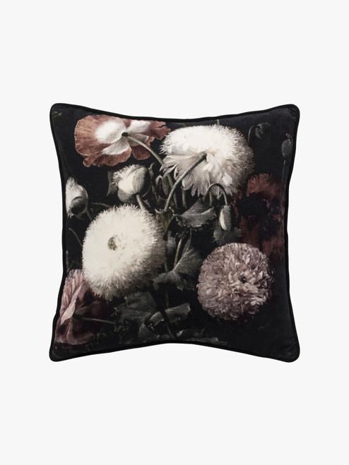 Bloom Cushion, Botanical Print– Cotton Velvet Cushion with Feather Insert