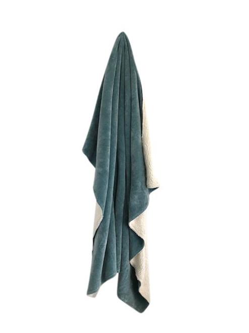 Teal Velvet Sherpa Throw Blanket