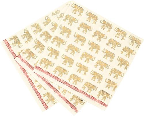 Luxury Elegant Elephant Paper Napkins, Gold Foil by Taking Tables UK