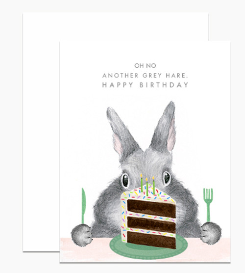 Dear Hancock Card - Oh No Another Grey Hare, Happy Birthday