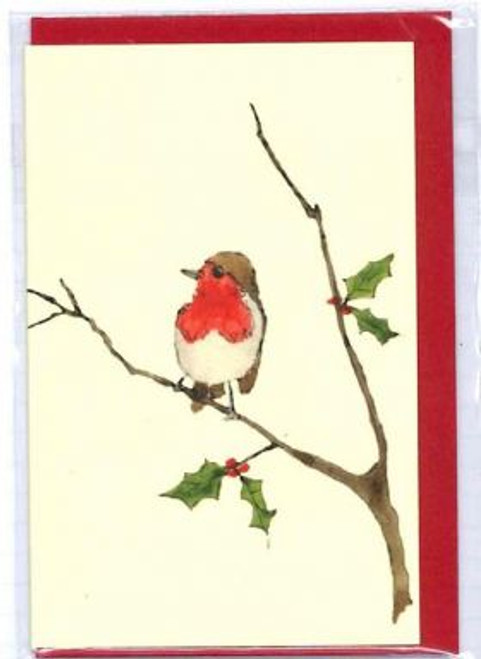 Penny Lindop Designs'Robin with Holly' Mini Greeting Card