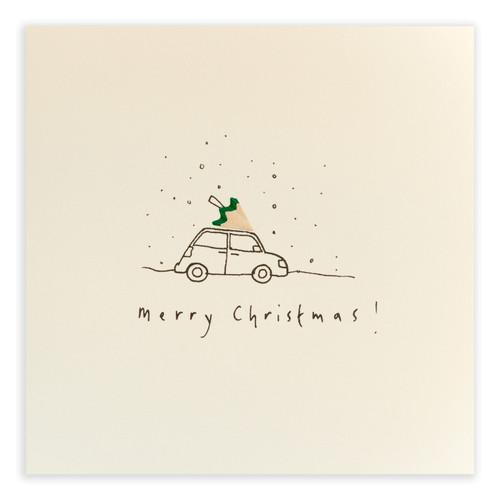 Ruth Jackson Pencil Shaving Cards - 'Merry Christmas!' Tree on Car Card