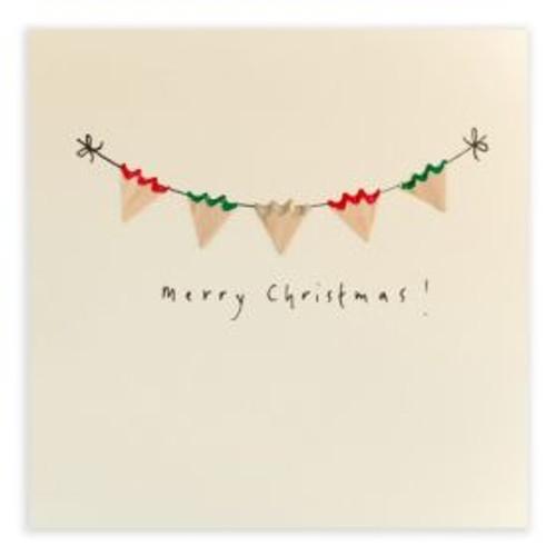 Ruth Jackson Pencil Shaving Cards - 'Merry Christmas!' Bunting Card