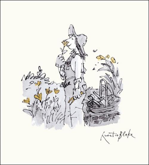 Smelling Flowers, Gardening Lady- Quentin Blake Illustration Card - Woodmansterne