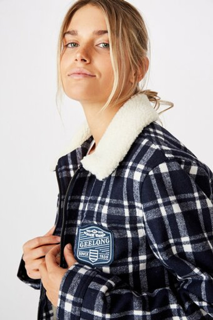 Supporter Womens Checkered Sherpa Jacket