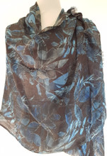 Healing Shawl - blue leaves