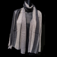 Healing Shawl - grey multi stripe fine wool