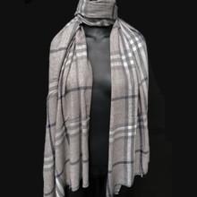 Healing Shawl - grey and blue plaid light wool
