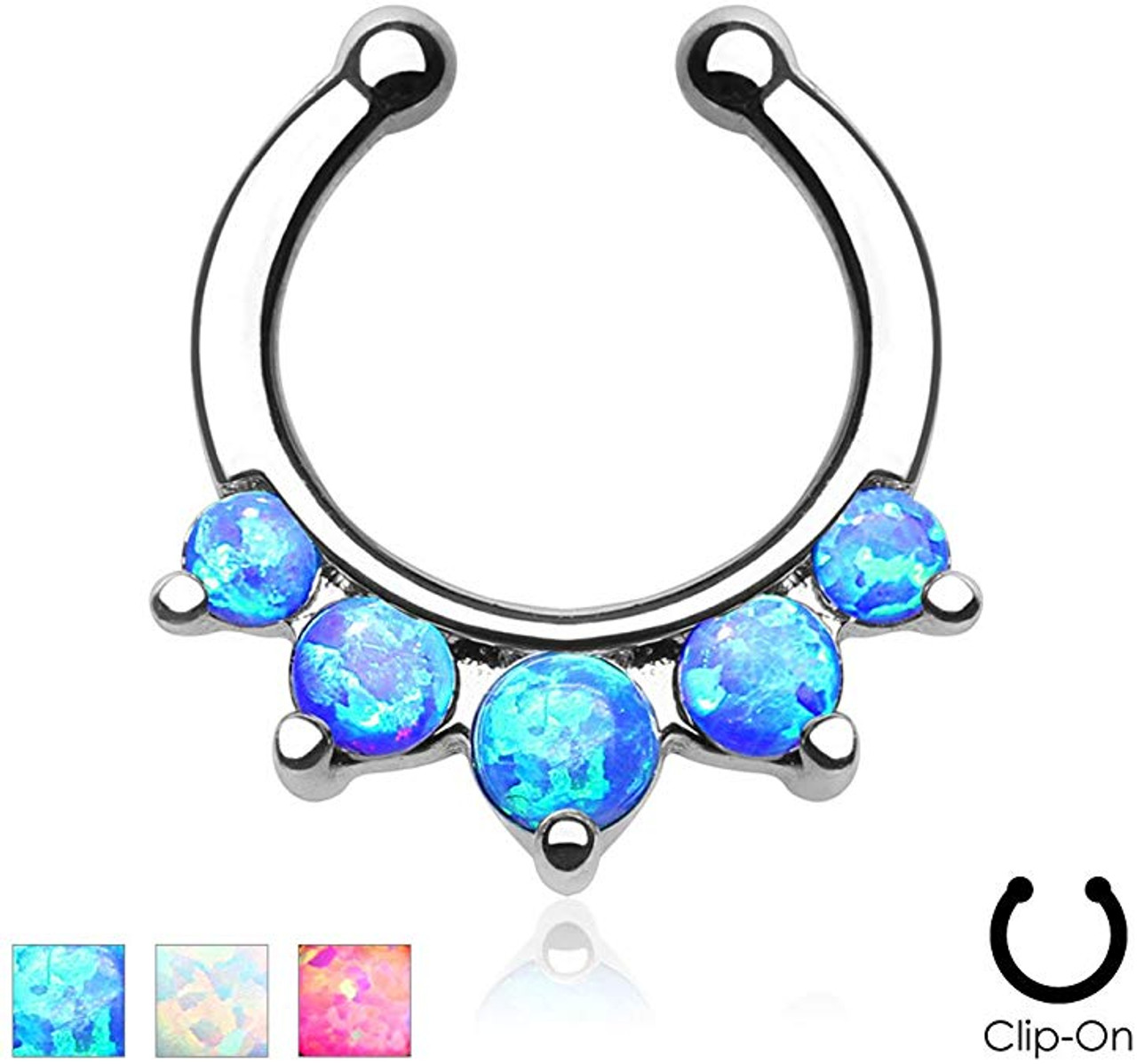 Five Paved Opal Gems Non Piercing Septum Hanger Notoriously Morbid