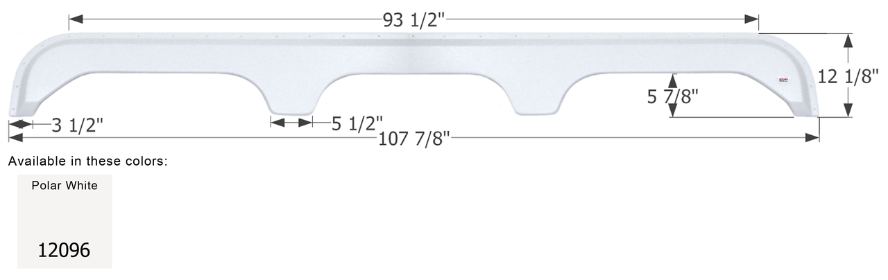 ICON Fleetwood Triple Axle Fender Skirt FS1900 Polar White