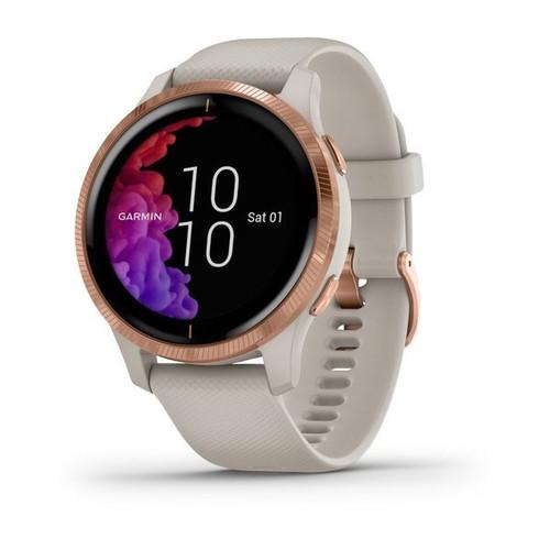 Garmin Venu GPS Smartwatch Light Sand With Rose-Gold Hardware
