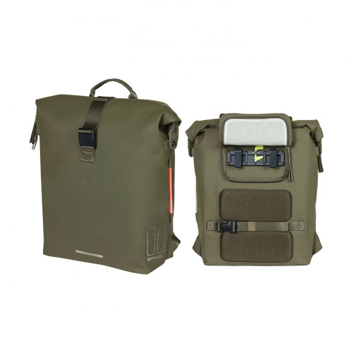 BASIL SOHO BICYCLE BAG/BACKPACK WITH LED LIGHT, 17L, MOSS GREEN