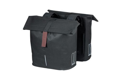 Basil City Double Bag, 28-32l, Black