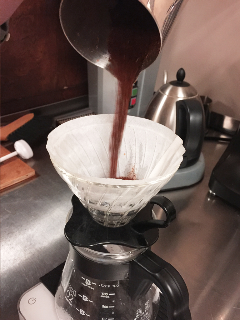 Weigh ground coffee