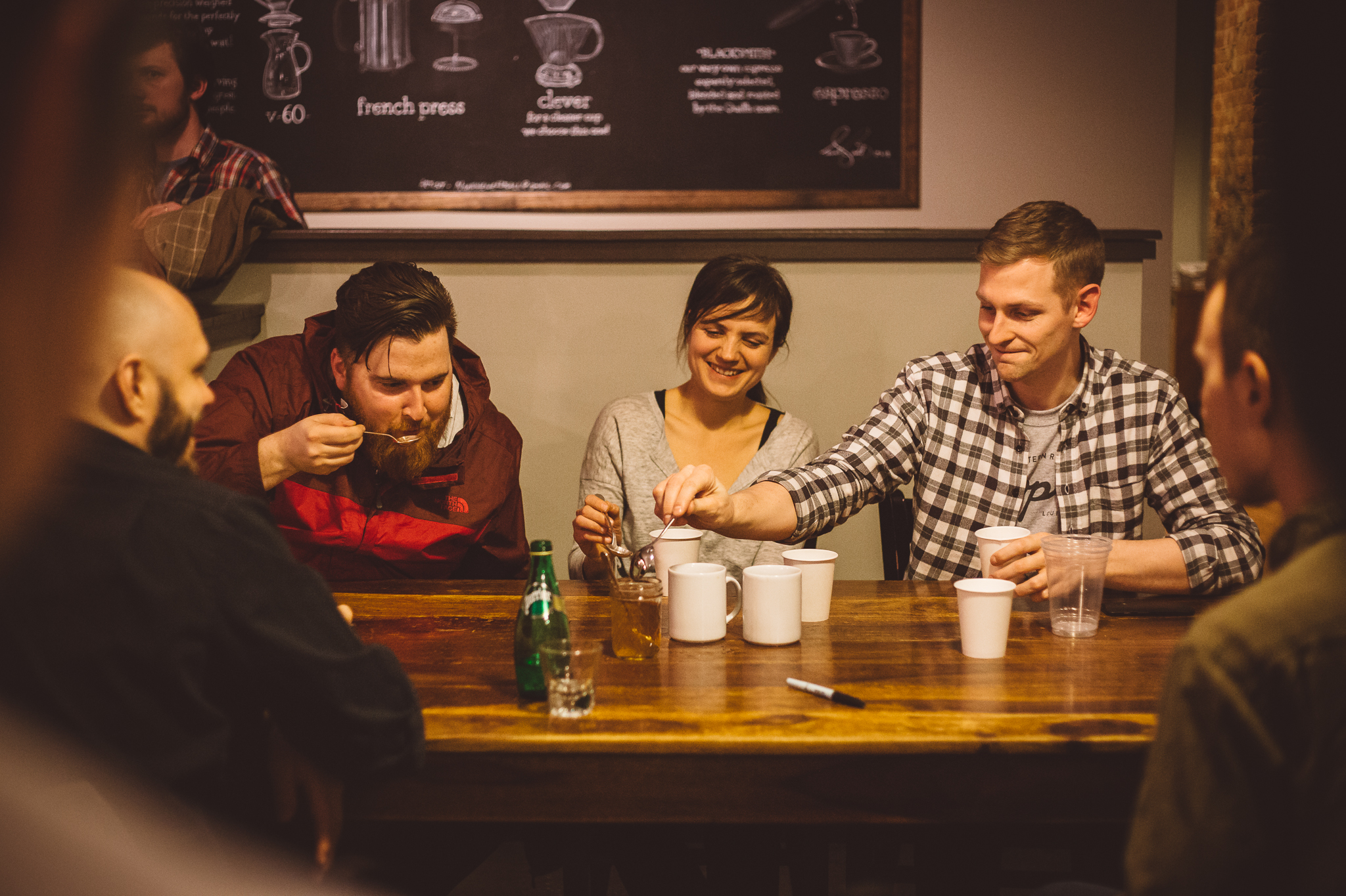 Judges about to slurp some coffee in the final round